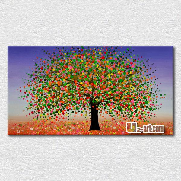 haute qualit texture arbre paysage peinture l 39 huile pour chambre d 39 enfants d coration murale. Black Bedroom Furniture Sets. Home Design Ideas