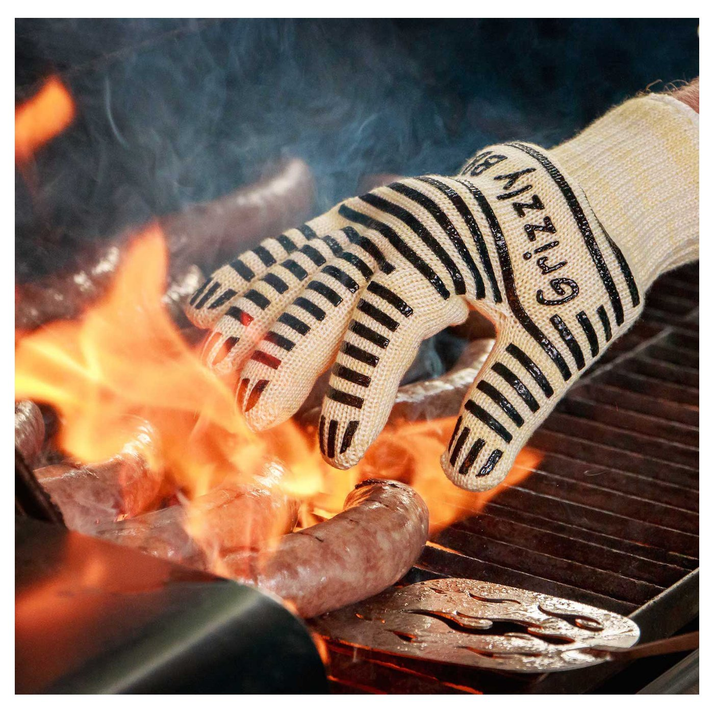 Fireplace Gloves - BBQ Cooking Gloves and Dutch Oven Mitts - Features Kevlar and Nomex Insulation for Maximum Fire and Heat Protection - For Outdoor Grilling and Kitchen Oven Safety Mitts - 100% Renewable Cotton Liner for Superior Comfort - For Use in Any High-heat Application, Including Military