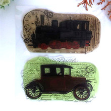 Scrapbooking Train Vintage <span class=keywords><strong>voiture</strong></span> tacot Scrapbook Papier Artisanat timbre Clair