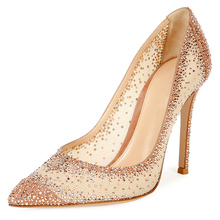 New Design Beautiful Elegant Bridal Wedding Shoes With White Mesh And Diamond High Heel Shoes