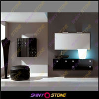 Top quality black glossy artificial marble melamine bathroom cabinet