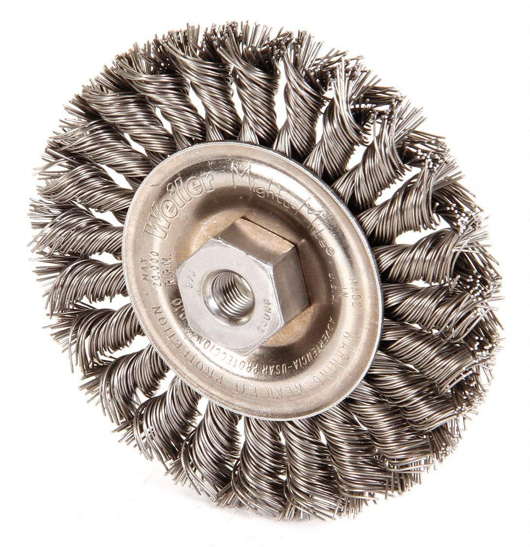 "Weiler 4"" Twisted Wire Wheel Brush, Arbor Hole Mounting, 0.020"" Wire Dia, 7/8"" Bristle Trim Length, 1 EA"