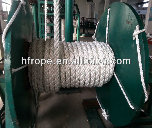 ABS/BV/LR/CCS/KR/NK certificate 104mm 8 stain core, Plaited braided Nylon/PE/PP/UHMWPE mooring rope