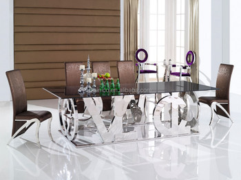Special Design 304 Stainless Steel Dining Room Table With Glass Top, Metal  Table And Chair Part 89