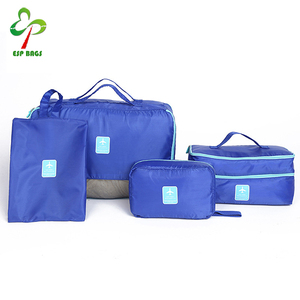 Set 4 waterproof folding nylon travel tote organizer bag set for underwears shoes cosmetics