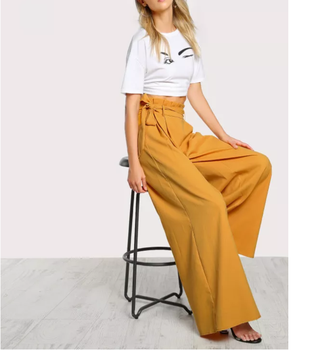 Wholesale Stylish Summer High Waist Elegant Chino Loose Women's Belt Urban Hip Hop Palazzo Harem Pocket Wide Leg Pants