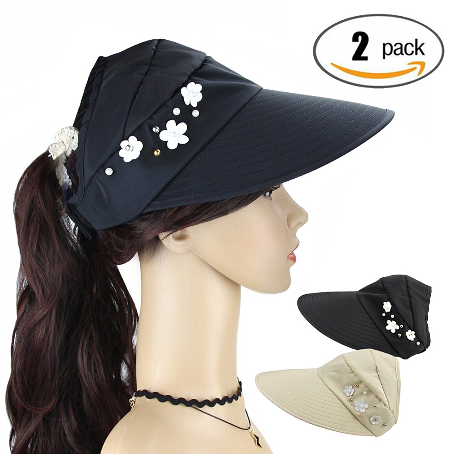 2c401217c0f Get Quotations · Women s Roll Up Topless Wide Brim Visor Cap 2 Packs Summer Sun  Hat Adjustable Foldable Cotton