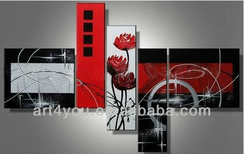 Five Panels Oil Painting on Canvas Abstract Group