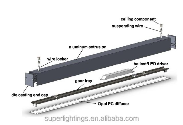 Aluminum Extrusion Led Tube Linear Lighting Fixture For