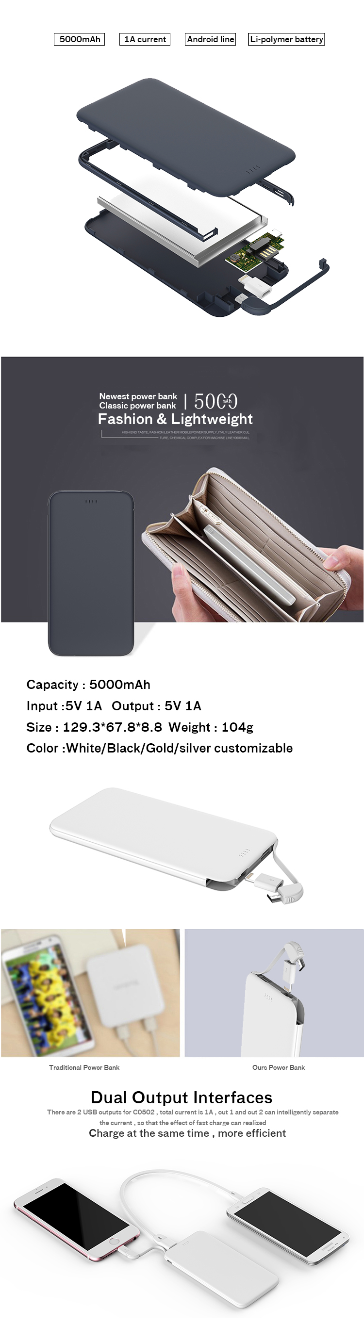 Powerbank charger Wholesale for mobile phone portable slim powerbank 5000mah mini powerbank