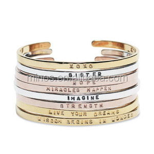 Mantra Band Bracelet Cuff Personalized Gold Cuff Bracelet Bangle