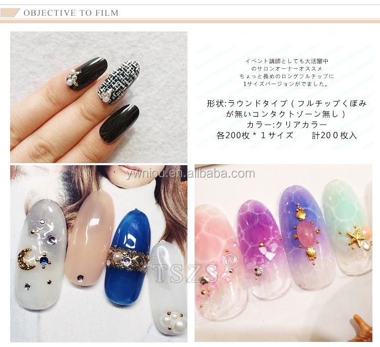 Tszs 200pcs Japanese Design Nail Art Transparent Long Oval Tips Full ...