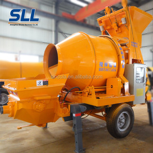 Diesel portable concrete pump self loading mobile concrete mixer with pump