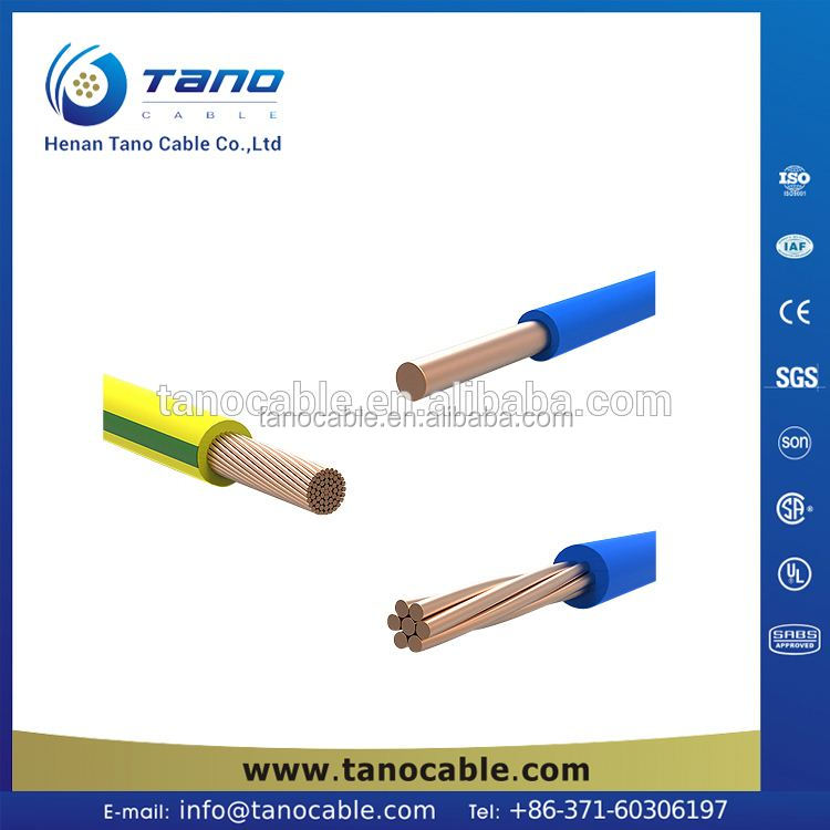PVC insulation electric building wire 2AWG Bare Annealed copper building wire THW 600V