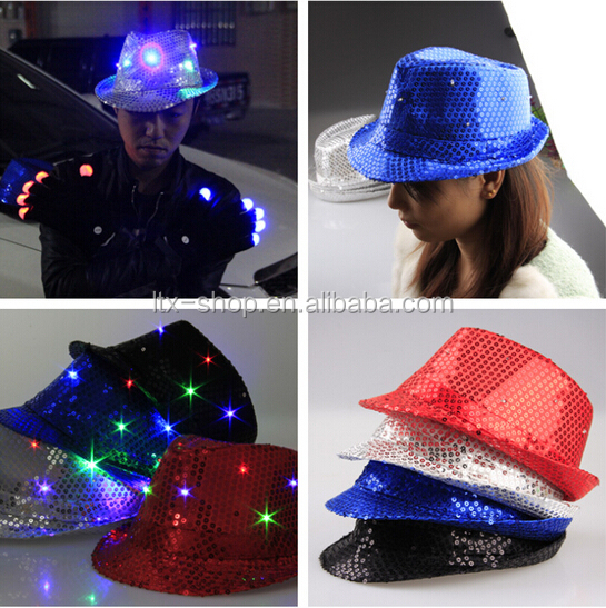 Newest party led flashing light hats colorful led flashing light up sequin fedora hats