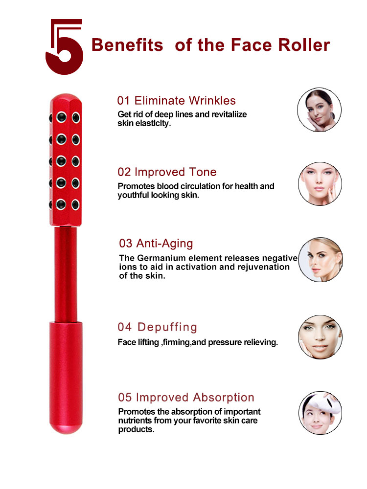 3d face massage roller metal yoga massage roller stick