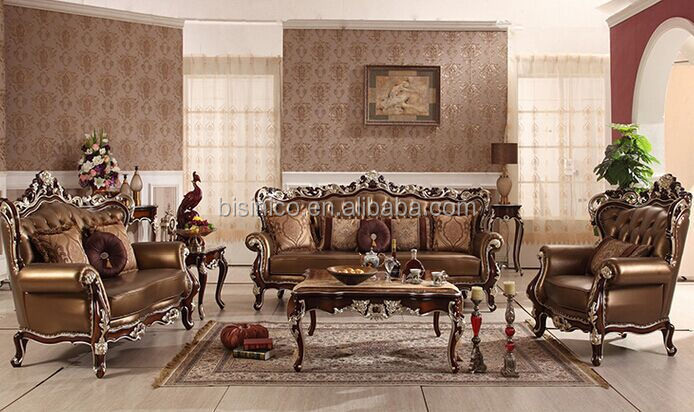 Good Villa Luxury Living Room Sofa Set, Royal Palace Hand Carved Furniture Sofa,  European Castle