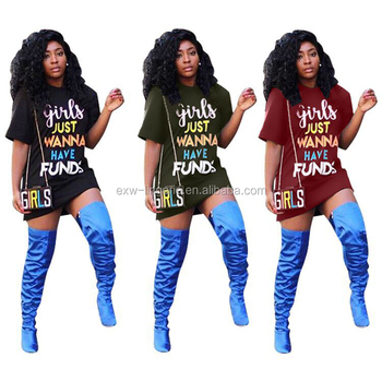 3 Colors Fashion Short Sleeve Letters Printed Mini T-Shirt Party Girl Dress