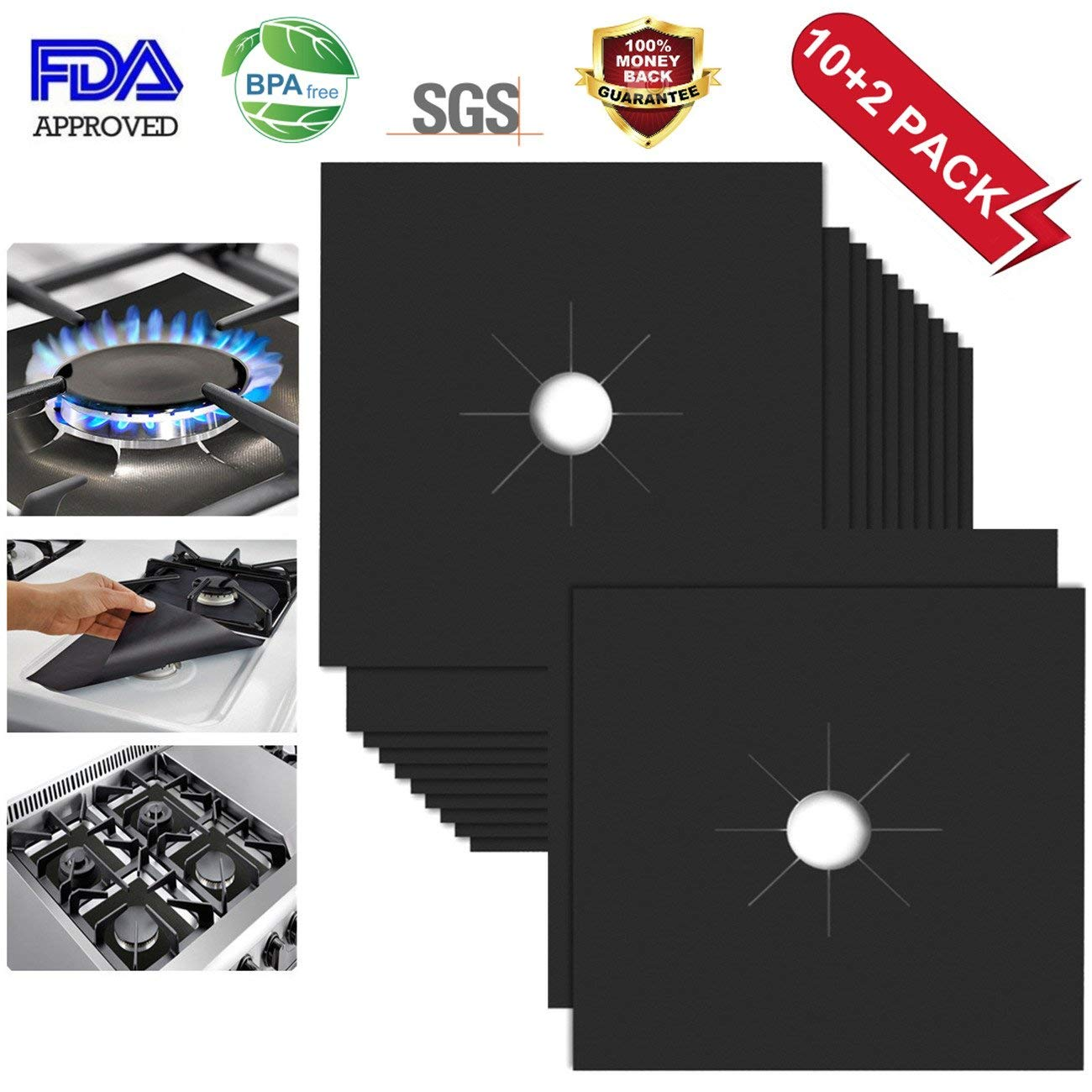 Stove Top Covers for Gas Burners Stove Top Protector for Gas Burners Gas Stove Burner Covers Non-Stick Stovetop Covers for Kitchen- Double Thickness 0.2mm, Cuttable, Dishwasher Safe, Easy to Clean