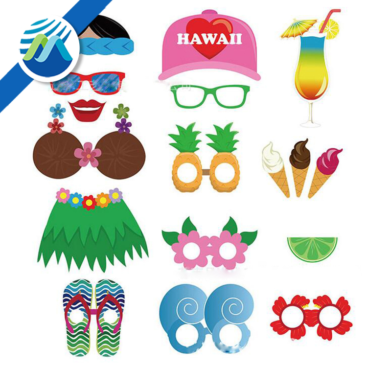 Hawaii Summer Party Beach Photo Booth Props Kit Party Accessories