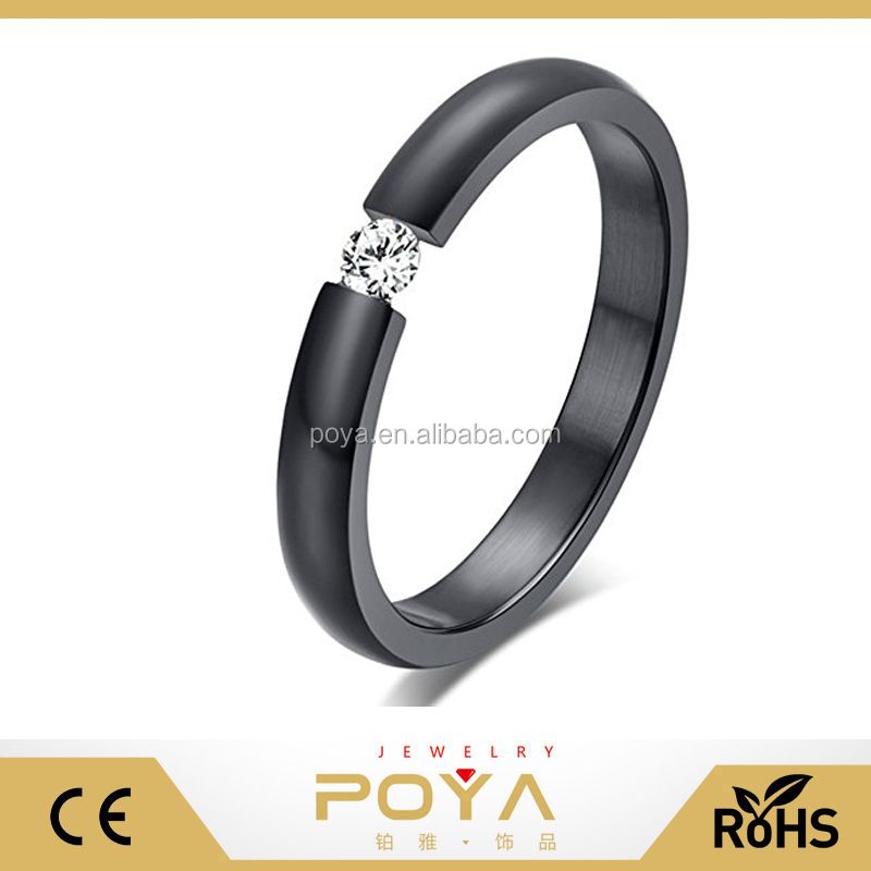POYA Jewelry New 3MM Mens Womens Wedding Engagement Promise Rings Slim Titanium Tension Set Ring, Black Plated With CZ Bands