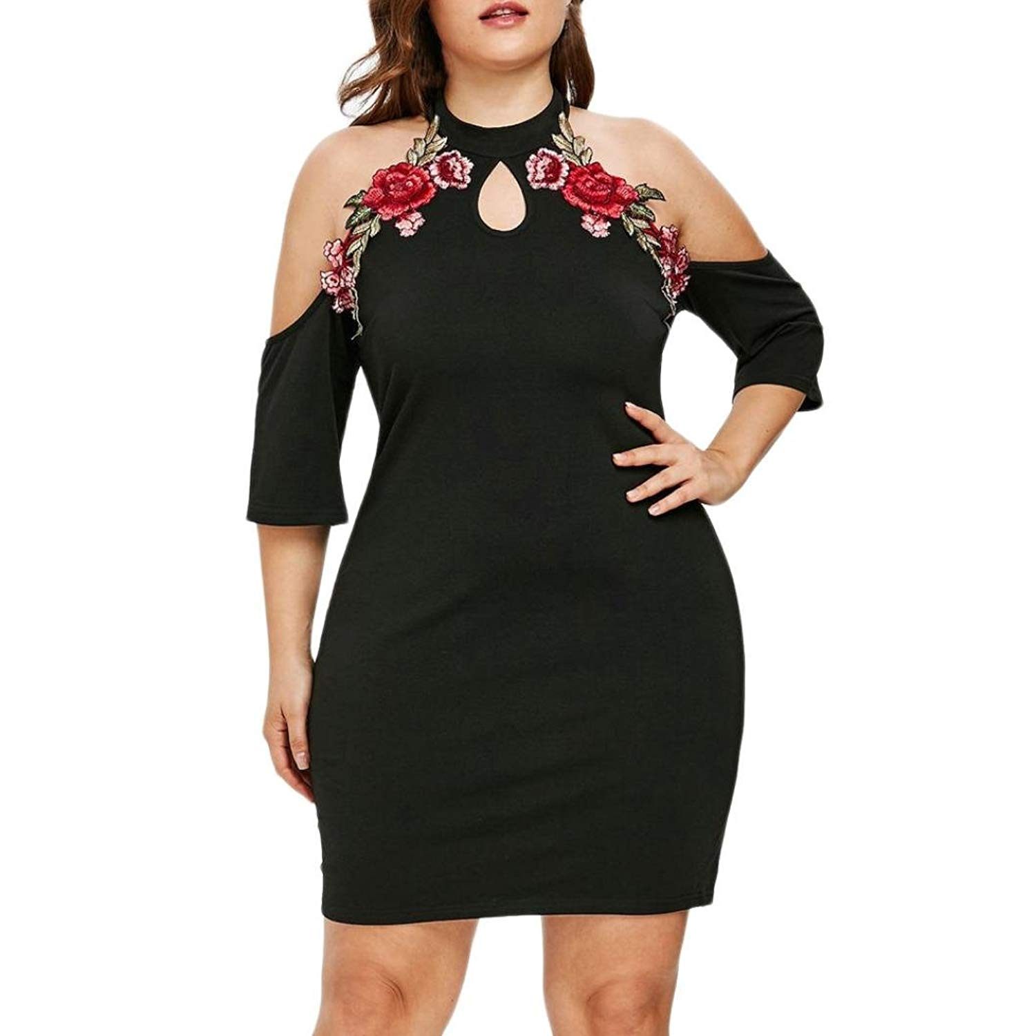 ac07e3bb3d Get Quotations · Womens Strapless Mini Dress Clearance Flower Embroidery  Applique Keyhole