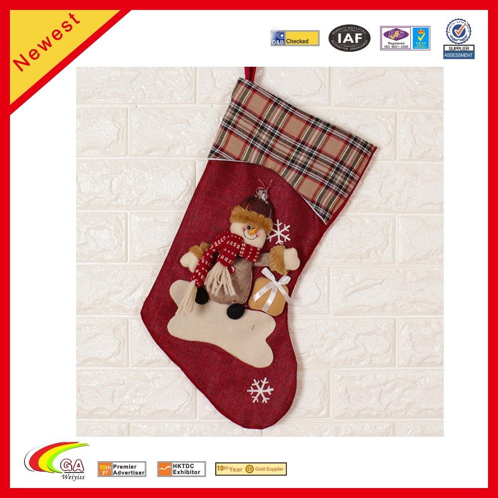 High Quality Large Christmas Socks Gift Bags Snowman Christmas Tree Window Decoration