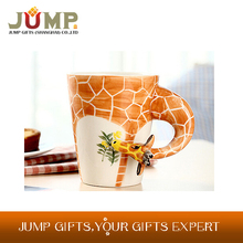Hot sale eco-friendly ceramic mugs,high quality 3D giraffe shaped ceramic coffee mug
