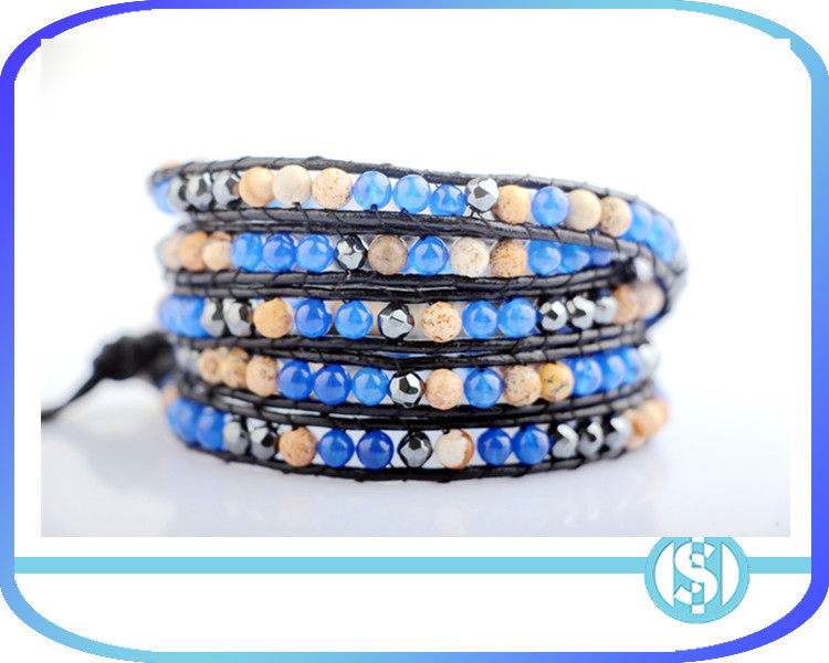 Natural picture stone & blue Mashan jade & black gallstone bracelet
