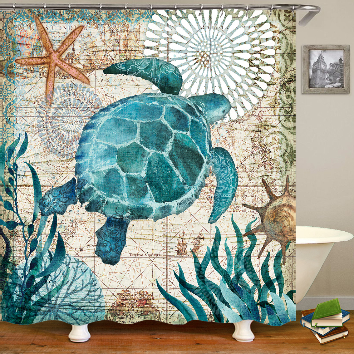 Ocean Animals Waterproof Polyester Digital Printing Thickened Non-toxic Mildew Shower Curtain