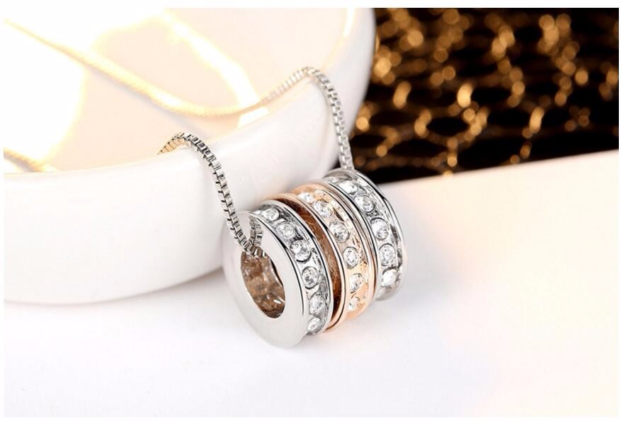 Wholesale 3 Hoop Neckalce 3 Ring Necklace Crystal necklaces & pendants Free Shipping