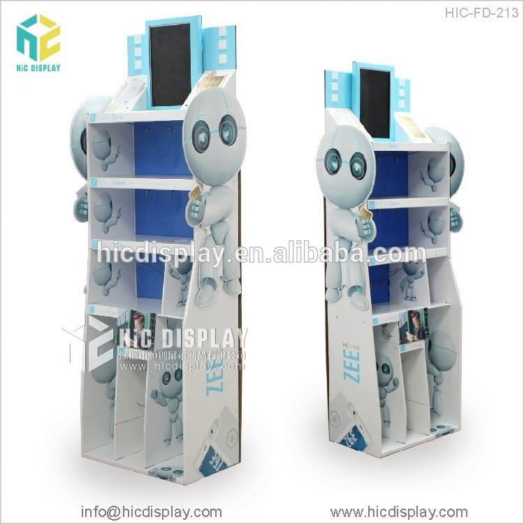 HIC supermarket equipment intelligent robot shape cardboard display cabinet
