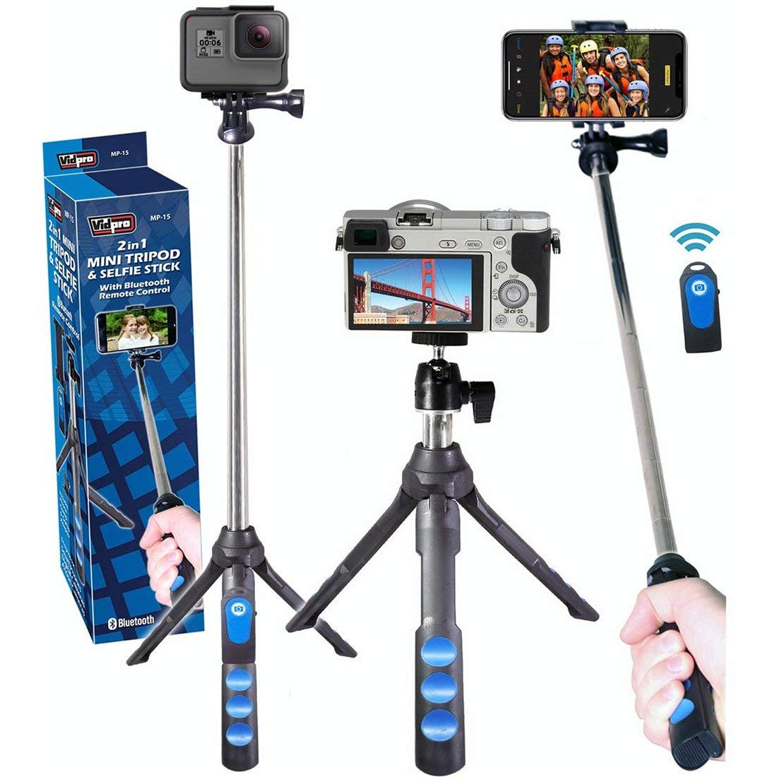 Vidpro MP-15 2-in-1 Mini Tripod/Selfie Stick with Bluetooth Remote Control