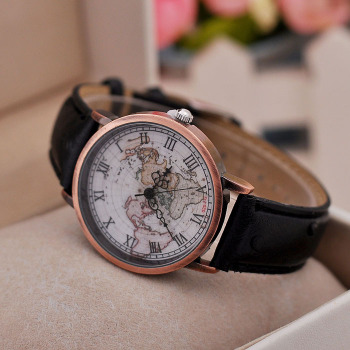 New Design World Map Watches Vintage Hand Roman Digital Leather ...