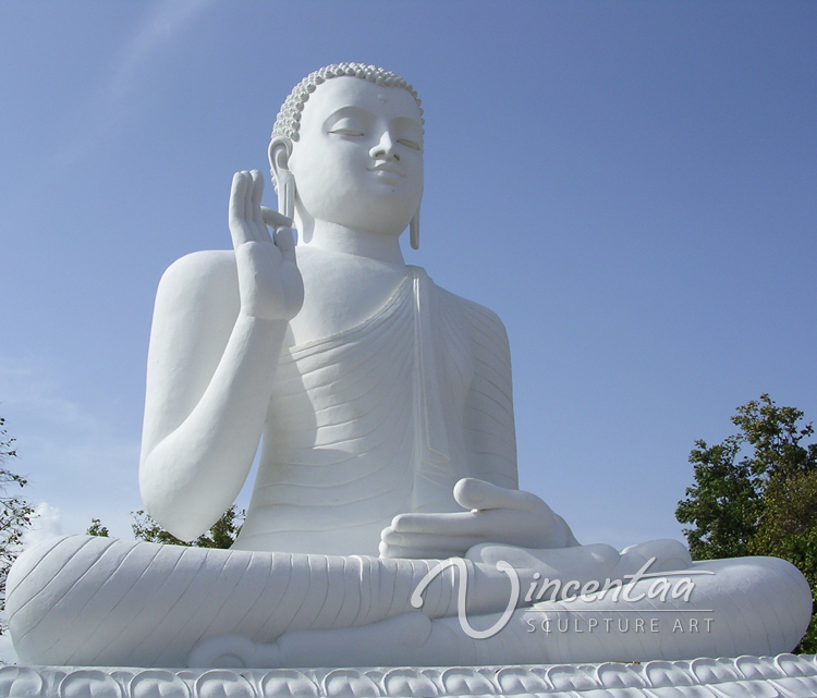 Outdoor tall white large stone marble giant buddha statue