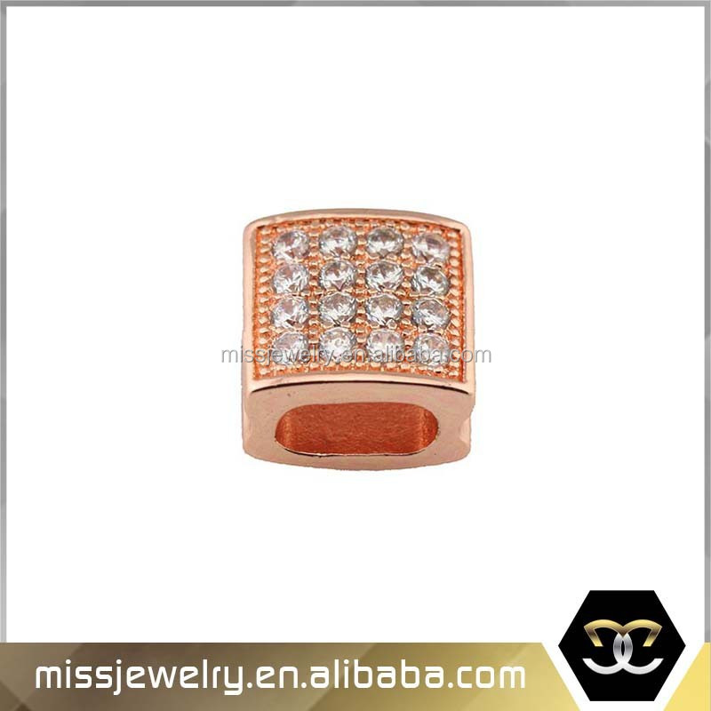 Hottest rose gold AAA CZ iced out beads accessory jewelry