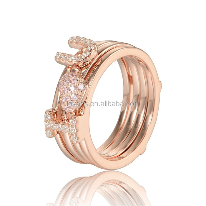 White And Pink Zircon CZ Gold Plated Designer Ring With I Love You Mark
