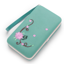 Newest Pidanlu embroidered flower pu leather women box wallet