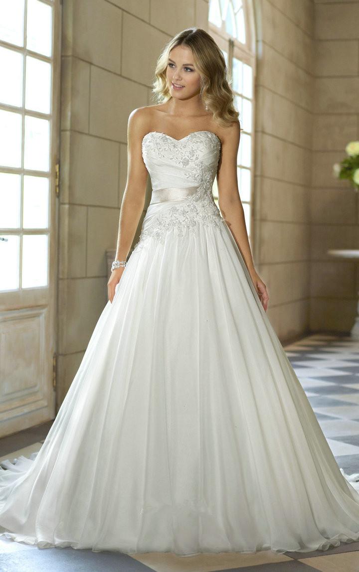 Cheap Price Free Shipping 2015 New Arrival A Line Sweetheart Applique Belt Vestidos De Noiva White