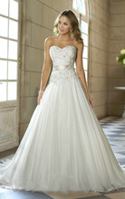Cheap Price Free Shipping 2015 New Arrival A Line Sweetheart Applique Vestidos De Noiva White / Ivory Wedding Dresses OW 0111