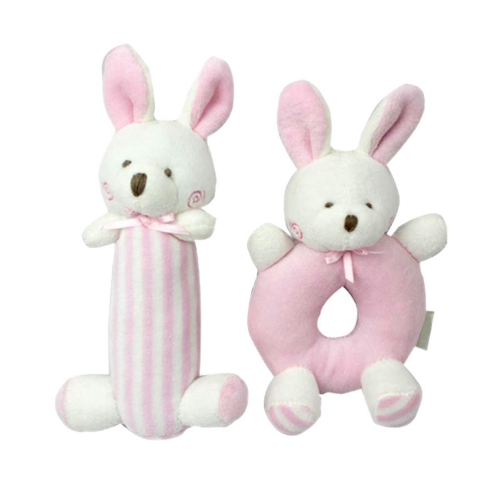 Tracfy Rattle and Squeaker Set Plush Bunny And Bear Stuffed Animal Sensory Activity Toy Shower Gift for Baby Toddlers