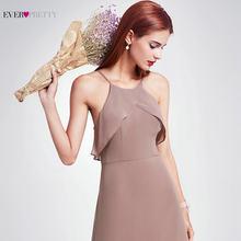 Элегантные платья подружки невесты Ever Pretty EP07130, длинное шифоновое платье-трапеция с оборками 2020, платье подружки невесты для свадебной вече...(Китай)