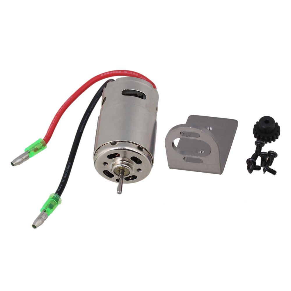 BQLZR Titanium Color Mount Seat 390 Brushed High Speed Electric Engine Motor A580052 with Line 17T Gear for WL RC1:18 Car