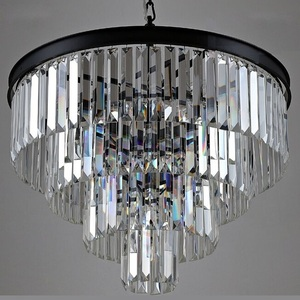 Zhongshan Sale modern led chandelier used hotel chandelier lighting black crystal lamp made in China