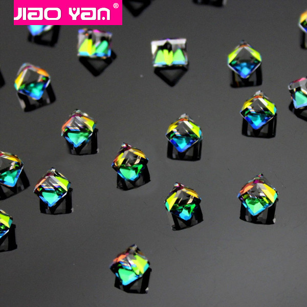 4mm Mix Color Faceted Glass Crystal Rhinestone Nail Art Square Cube Beads #1951