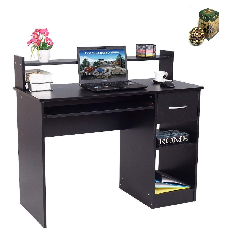 Modern Computer Desk Workstation w/Storage Drawer & Shelf by SpiritOne + Gift Coconut Shell Massage Ball