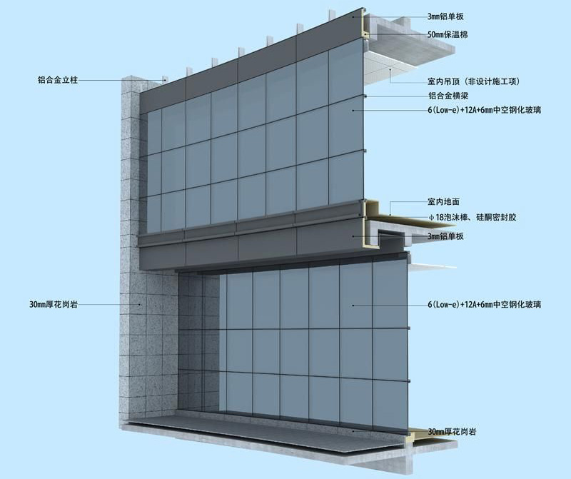 Commercial Building Hidden Framing Frameless Glass Curtain