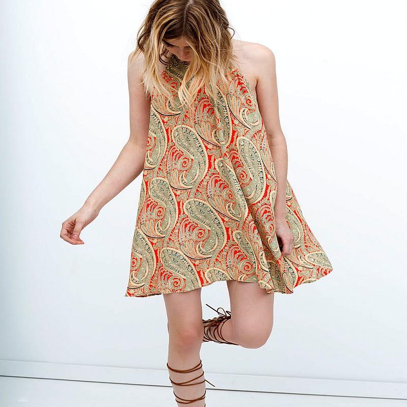 618b95bdc02f8d Get Quotations · 2015 New Fashion Summer Style Chiffon Dress Retro Cashew  Print Sleeveless O-Neck Women Sexy