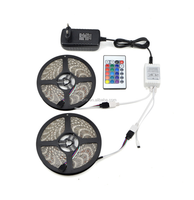 DC 12V 5M 10M 5050 SMD RGB LED Strip light IP20 / IP65 waterproof LED lamp Tape + 3A power supply Adapter + IR Remote controller