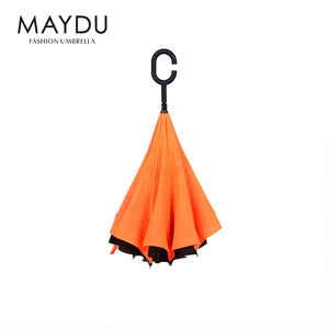 Chinese reverse golf inverted custom folding orange yellow umbrella with double layer